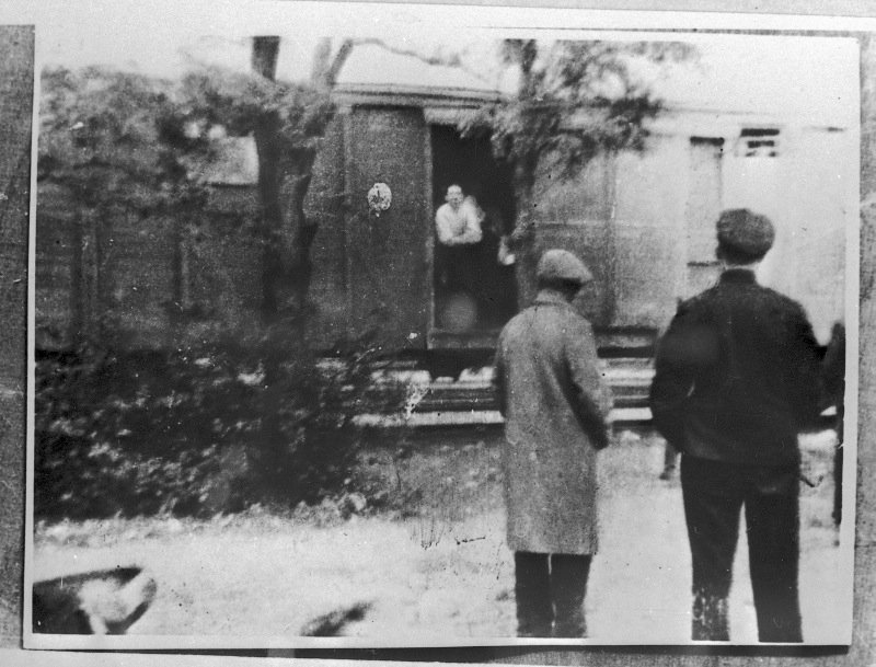Deportation train with deportees.